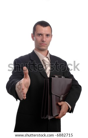 A trendy European businessman with a blue tie and holding one folder