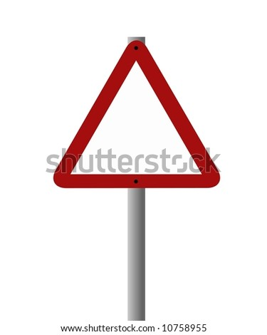A triangular road sign left blank to add your own warning.