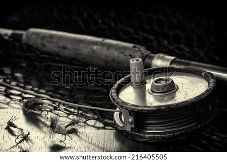 A tribute to fly fishing. - stock photo