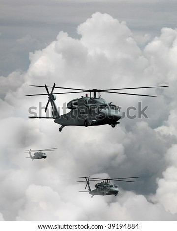 A trio of Blackhawk helicopters in transit through the clouds - stock photo