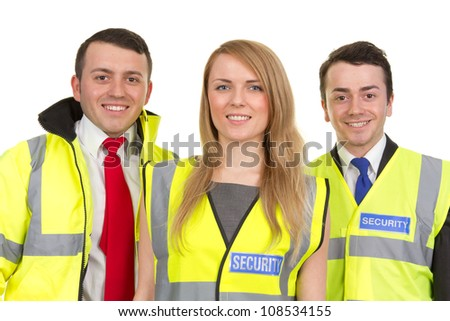 A trio of security guards wearing uniform, isolated on white