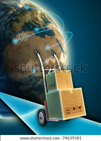 A trolley carrying some boxes. Earth globe on background, with lines connecting different cities around the world. Digital illustration. - stock photo