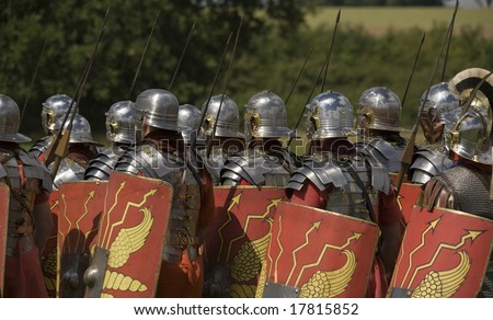 a troop roman centurion marching - stock photo