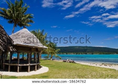 a tropical beach hut in samoa, south sea