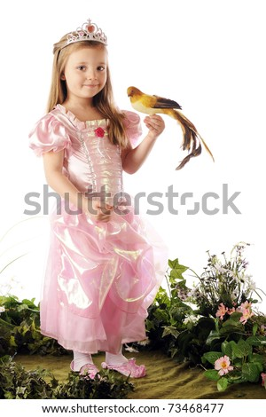 A tropical bird perched on the hand of a beautiful preschool princess.  Isolated on white. - stock photo