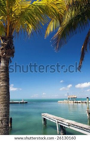 A tropical Florida Key's vista looking out on the turquoise waters of the Gulf of Mexico. - stock photo