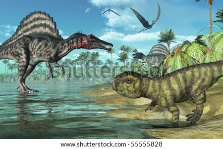 A tropical prehistoric scene with several dinosaurs, including two spinosauruses, a psittacosaurus in the foreground, and three dorygnathuses in flight. 3D render