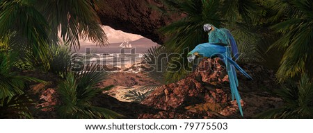 A tropical scene of a island coastline with two macaws and schooner. - stock photo