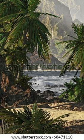 A tropical scene of Kauaiâ??s coastline with sailboat and palm trees. - stock photo