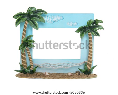 A tropical vacation themed picture frame over a white background - stock photo