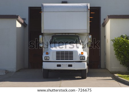 A truck in the loading load. - stock photo