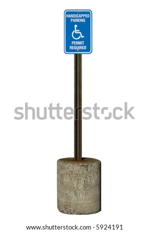 A true metal handicapped parking sign with rusty pole. Isolated, 12MP camera. - stock photo