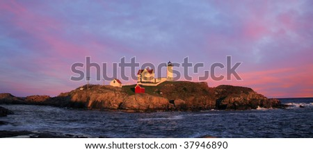 A Truly Gorgeous Sunset At The Nubble Light, Cape Neddick, Maine - stock photo