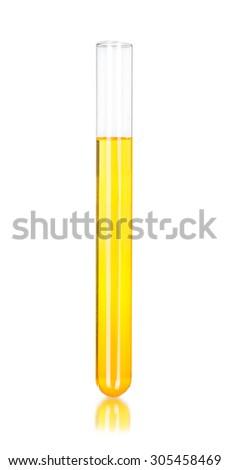 a tubes of yellow liquid - stock photo