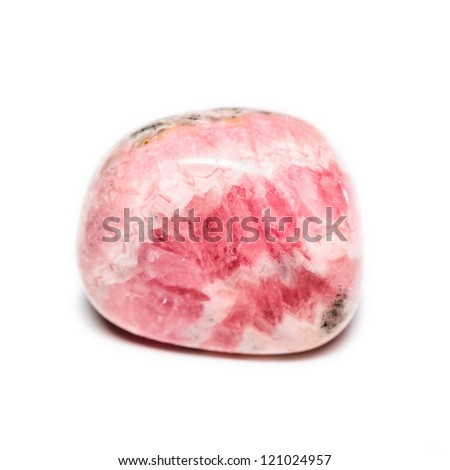 A tumbled Rhodochrosite nugget bead in e lovely pink color.