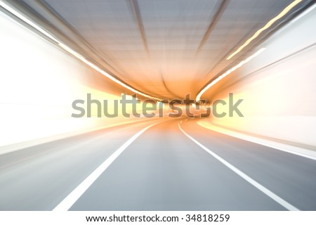 A tunnel colored with red