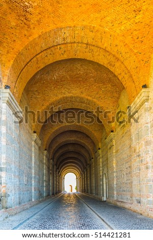 A tunnel leading under the basilica in the hungaria city esztergom