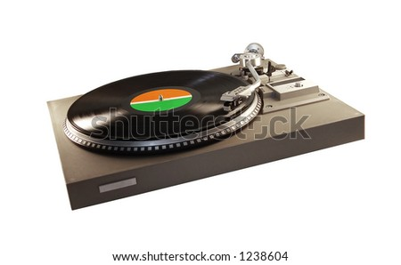 A turntable with a record playing (vector version: image no. 2210359)