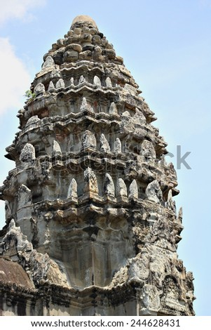 A turret or tower of the ancient temple of Angkor Wat, a UNESCO World Heritage Site near Siem Reap, Cambodia. - stock photo