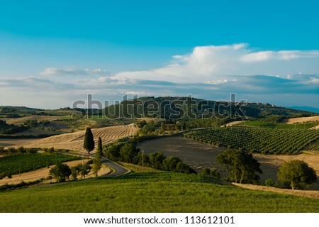 A Tuscan landscape near Montepulciano, Italy - stock photo