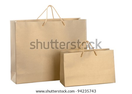 A two gold paper shopping bags - stock photo