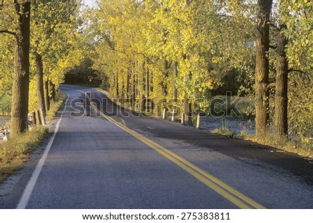 A two lane road crosses the New York-Vermont border surrounded by autumn trees - stock photo
