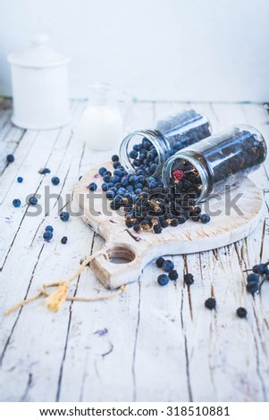 A Two medicinal plant blackthorn and blackberries fruits in jars over on white wooden table. Harvest of forest from autumn.  - stock photo