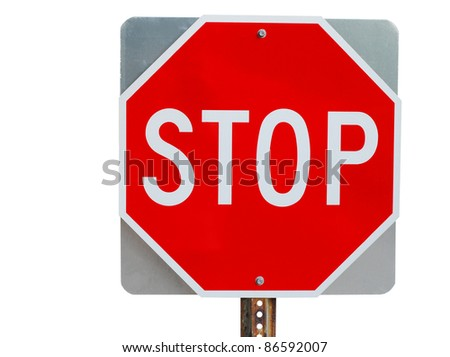 A two sides stop sign isolated white