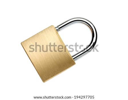 A two toned metal padlock is shut closed. - stock photo