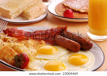 A typical American hearty breakfast - stock photo