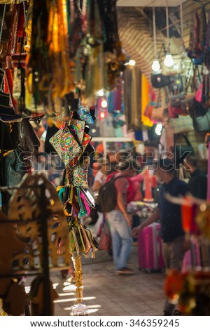A typical atmosphere at the aisles Souk in Marrakesh Medina - stock photo