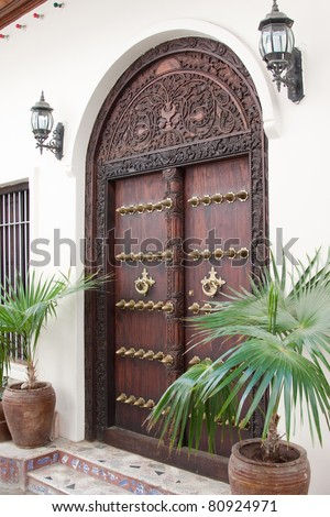 A typical carved wooden door from Stonetown in Zanzibar