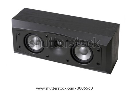 A typical Center Channel Speaker which might form a part of a home cinema audio system isolated on a white background