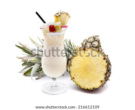 a typical cocktail area cariba the Pina colada - stock photo