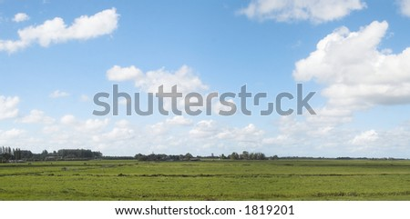 A typical Dutch landscape panorama. - stock photo