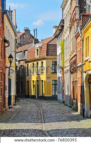 A typical Dutch street in the Delph. Netherlands - stock photo