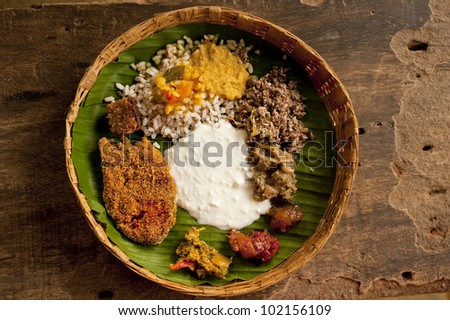 A typical Goan meal in Goa, India - stock photo