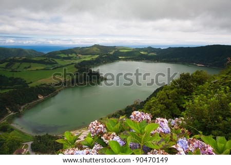 A typical lake on the island of Azores in Portugal - stock photo