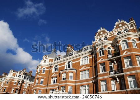 A typical London red-brick building at West-London. - stock photo