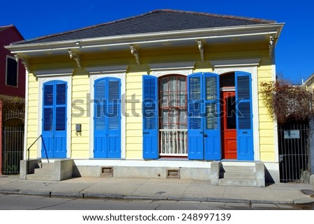 A Typical New Orleans French Quarter Style Architecture Dwelling. - stock photo