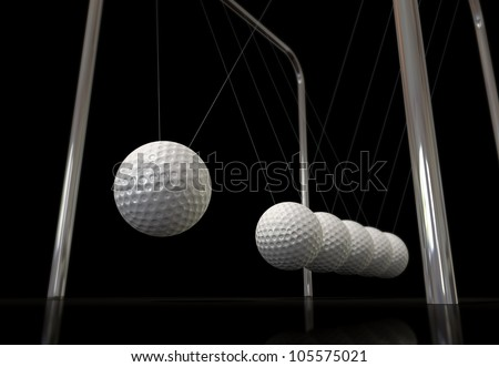 A typical newtons cradle in motion with the balls replaced by golf balls