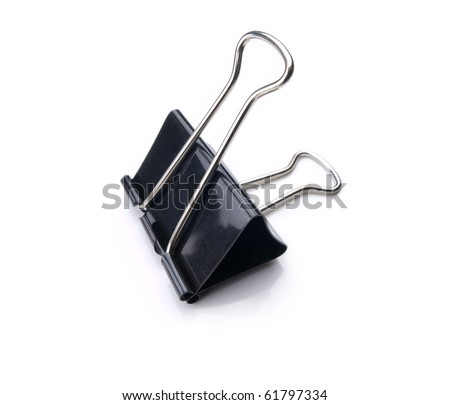 A typical paper clip shot with wide angle lens isolated on white. - stock photo