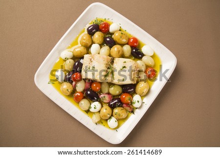 A typical Portuguese dish with codfish called Bacalhau do Porto - stock photo