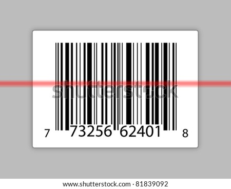 A typical product barcode with a laser scanning it.