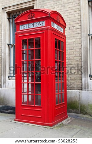 A typical red London phone cabin