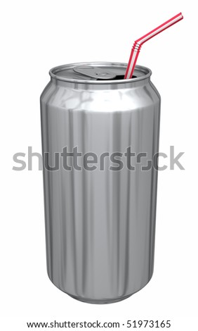 a typical soda can that has no label with a flexible drinking straw in it - stock photo