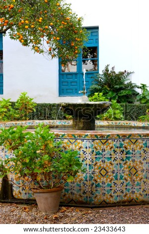 A typical Spanish patio in Cordoba, Andalusia, Spain - stock photo