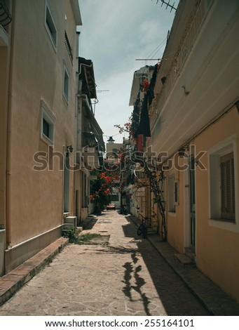 A typical street in Zante Town on the Greek island of Zakynthos  - stock photo
