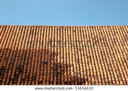 A typical tile roof in Old San Juan, Puerto Rico that make the city so beautiful - stock photo