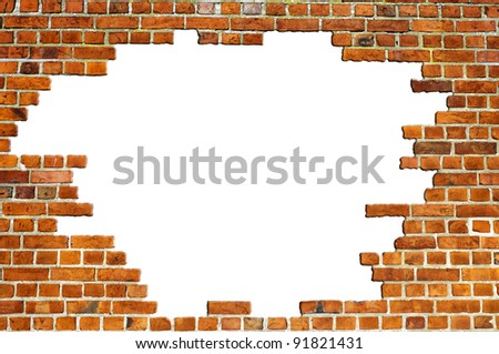 A typical view of a red brick wall texture with a hole for your designing needs. - stock photo